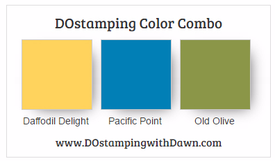 Stampin' Up! color combo Daffodil Delight, Pacific Point, OldOlive #dostamping