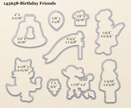 Stampin' Up! Birthday Friends Framelit Dies sizes shared by Dawn OIchefske #dostamping
