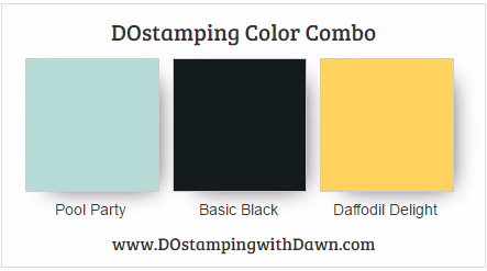 Stampin' Up! color combo Pool Party, Basic Black, Daffodi Delight #dostamping