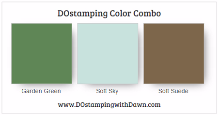 Stampin' Up! color combo Garden Green, Soft Sky, Soft Suede #dostamping