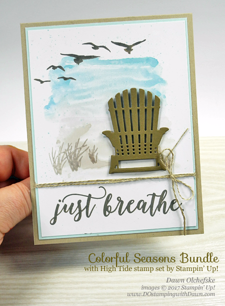 Create a seaside landscape with Stampin' Up! Seasonal Layers Framelit, Colorful Seasons Bundle, High Tide by Dawn Olchefske #dostamping