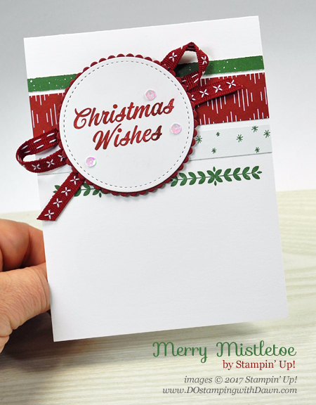 Stampin' Up! Merry Mistletoe stamp set and Be Merry Designer Series Paper from Dawn Olchefske #dostamping