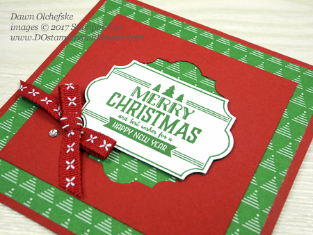 Stampin' Up! Be Merry Designer Series Paper, Everyday Label Punch, Labels to Love from 2017 Holiday Catalog cards by Dawn Olchefske #dostamping