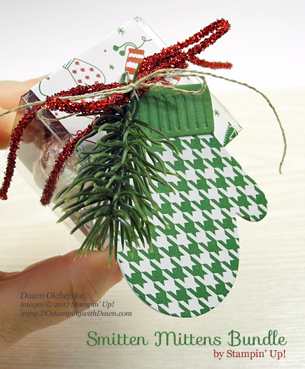 Holiday Inspiration Week, Stampin' Up! Tiny Treat Box with Many Mittens Framelits Dies from 2017 Holiday Catalog by Dawn Olchefske #dostamping,