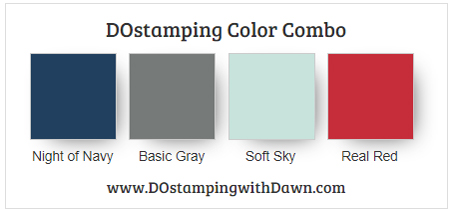 Stampin' Up! Color Combo Night of Navy, Basic Gray, Soft Sky, Real Red #dostamping