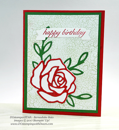 Stampin' Up! Birthday Blossoms stamp set and Rose Garden Thinlits shared by Dawn Olchefske  #dostamping (Bernadette Baio)