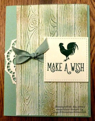 Stampin' Up! Wood Words stamp set and Pinewood Planks embossing folder shared by Dawn Olchefske  #dostamping (Kay Ahlberg)