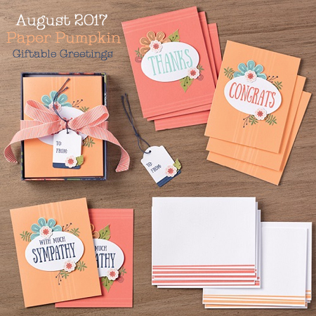 Giftable Greetings Paper Pumpkin August 2017 Kit, Shop with Dawn O #dostamping #paperpumpkin #cardkits #diy #handmade