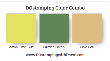 #stampinup #colorcombo Lemon Lime Twist, Garden Green Gold shared by Dawn Olchefske #dostamping