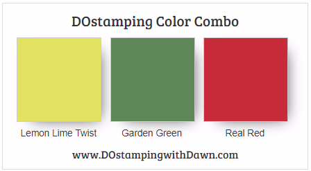 #stampinup #colorcombo Lemon Lime Twist, Garden Green, Real Red shared by Dawn Olchefske #dostamping