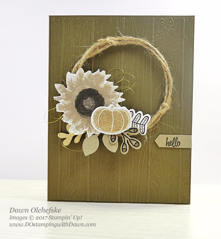 Stampin' Up! Painted Harvest, Pick a Pumpkin wreath card by Dawn Olchefske for DOstamperSTARS Thursday Challenge #DSC249 #dostamping #stampinup #handmade #cardmaking #stamping #diy #wreath #pickapumpkin #paintedharvest