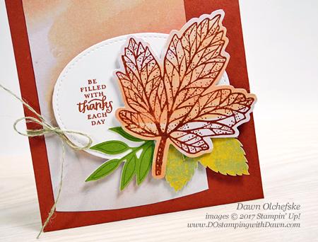 Stampin' Up! September 2017 Paper Pumpkin: Layered Leaves shared by Dawn Olchefske #dostamping #stampinup #handmade #cardmaking #stamping #diy #paperpumpkin #layeredleaves #autumn #thankyou