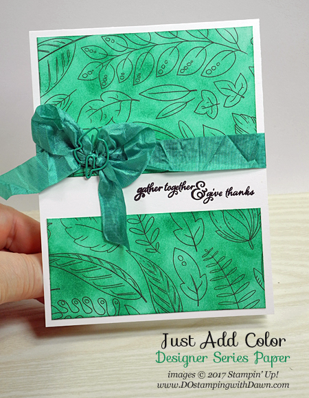 Stampin' Up! Just Add Color Specialty Designer Series Paper shared by Dawn Olchefske #dostamping  #stampinup #handmade #cardmaking #stamping #diy #justaddcolor #dspsale #thankyou #paintedharvest