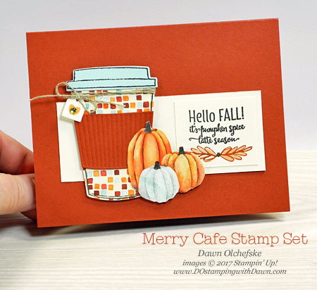 Stampin' Up! Merry Cafe & Painted Autumn Designer Series Paper by Dawn Olchefske for DOstamperSTARS Thursday Challenge #DSC252 #dostamping #stampinup #handmade #cardmaking #stamping #diy #bigshot #merrycafe #paintedautumn #coffeecups #fall #pumpkin #rubberstamping