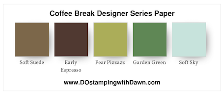 Stampin' Up! color combo (Soft Suede, Early Espresso, Pear Pizzazz, Garden Green, Soft Sky) by Dawn Olchefske #dostamping #stampinup #colorcombo