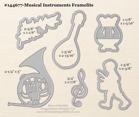 Musical Instruments Framelit sizes shared by Dawn Olchefske #dostamping #stampinup #framelits #thinlits #bigshot