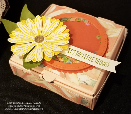Stampin' Up! Delightful Daisy Designer Series Paper shared by Dawn Olchefske #dostamping  #stampinup #handmade #cardmaking #stamping #diy #rubberstamping #pizzabox
