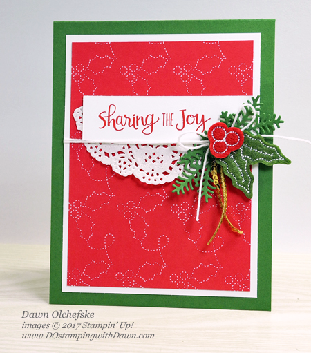 Stampin' Up! Ready for Christmas bundle card by Dawn Olchefske #dostamping  #stampinup #handmade #cardmaking #stamping #diy #rubberstamping #christmas #christmascards #readyforchristmas #christmasstaircase #stitchedfeltembellishments