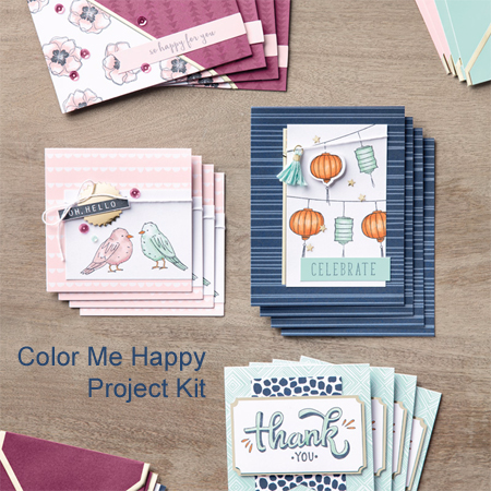 Stampin' Up! Color Me Happy project kit #dostamping #stampinup #stampinblends #coloring #colormehappy  #cardkit #diy