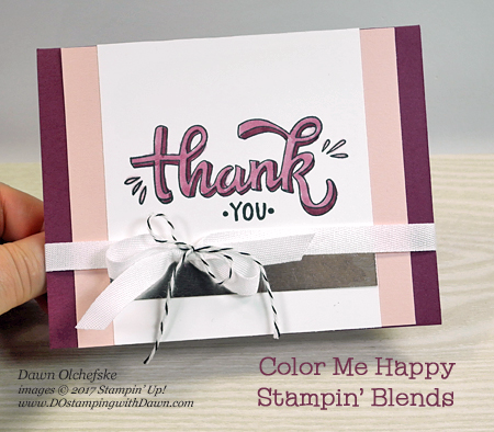 Stampin' Up! Color Me Happy with Stampin' Blends card by Dawn Olchefske for DOstamperSTARS Thursday Challenge #DSC255 #dostamping #stampinup #handmade #cardmaking #stamping #diy #colormehappy #stampinblends #thankyoucards #coloring