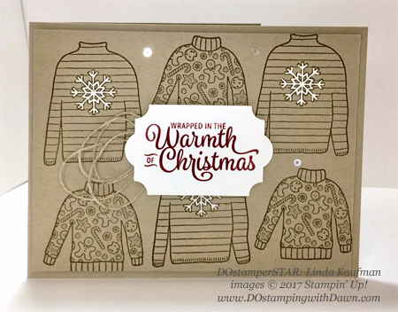 Stampin' Up! Christmas Sweaters card shared by Dawn Olchefske #dostamping  #stampinup #handmade #cardmaking #stamping #diy #rubberstamping #dostamperstars #christmas (Linda Kaufman)