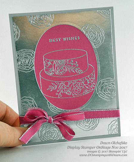 Stampin' Up! Cake Soiree stamp set and Silver Mini Gable Box projects created and shared by Dawn Olchefske #dostamping #stampinup #handmade #cardmaking #stamping #diy #rubberstamping #wedding #2018Occasions #packaging #OnStage2017