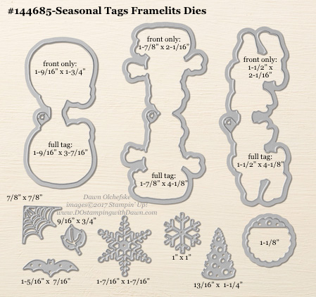 Seasonal Tags Framelits sizes shared by Dawn Olchefske #dostamping #stampinup #framelits #thinlits #bigshot