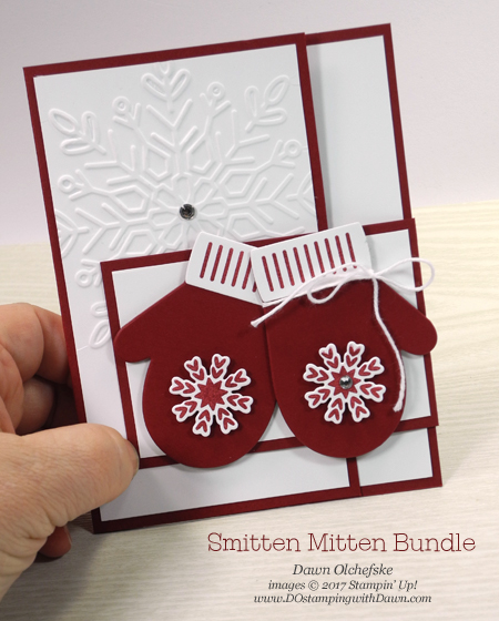 Stampin' Up! Smiten Mittens Bundle shared by Dawn Olchefske #dostamping #stampinup #handmade #cardmaking #stamping #diy #rubberstampings #christmascards #funfold