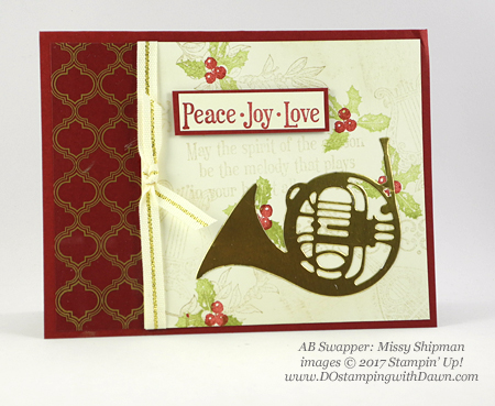 Stampin' Up! Musical Season Bundle card shared by Dawn Olchefske #dostamping #stampinup #handmade #cardmaking #stamping #diy #rubberstamping #christmascards (Missy Shipman)