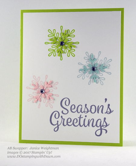 Stampin' Up! Snowflake Sentiments stamp set and Swirly Snowflakes Thinlit Dies shared by Dawn Olchefske #dostamping #stampinup #handmade #cardmaking #stamping #diy #rubberstamping (Janice Weightman)