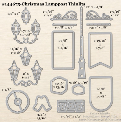 Christmas Lamppost Thinlit sizes shared by Dawn Olchefske #dostamping #stampinup #framelits #thinlits #bigshot