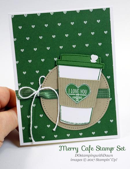 Stampin' Up! Merry Cafe stamp set and Coffe Cups Framelits shared by Dawn Olchefske #dostamping #stampinup #handmade #cardmaking #stamping #diy #rubberstamping #merrycafe #valentinesdaycards #bigshot