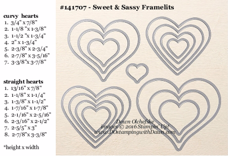 Sweet & Sassy Framelit Dies sizes shared by Dawn Olchefske #dostamping #stampinup