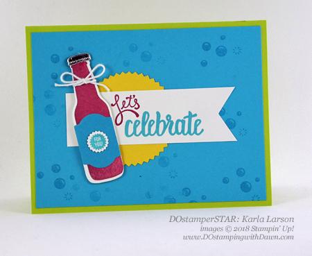 Stampin' Up! Bubble Over Bundle DOstamperSTARS swap shared by Dawn Olchefske #dostamping #stampinup #handmade #cardmaking #stamping #diy #rubberstamping #papercrafting #DOstamperSTARS #2018OccasionsCatalog #birthdaycards (Karla Larson)