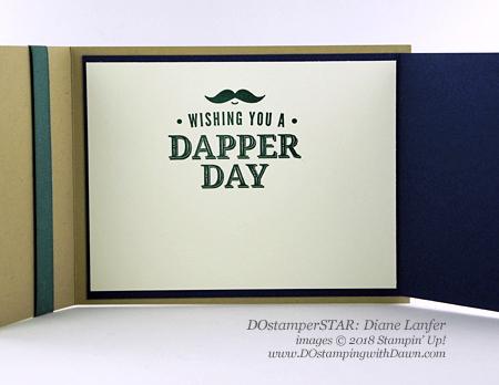 Stampin' Up! Truly Tailored DOstamperSTARS swap shared by Dawn Olchefske #dostamping #stampinup #handmade #cardmaking #stamping #diy #rubberstamping #papercrafting #DOstamperSTARS #2018OccasionsCatalog #masculinecards #birthdaycards (Diane Lanfer)