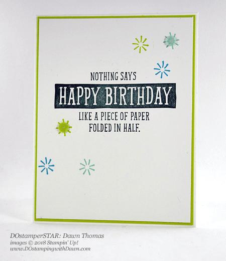 Stampin' Up! DOstamperSTARS Birthday Wit swap shared by Dawn Olchefske #dostamping #stampinup #handmade #cardmaking #stamping #diy #rubberstamping #papercrafting #DOstamperSTARS #2018OccasionsCatalog #birthdaycards #birthdaywit (Dawn Thomas)