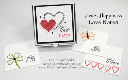 Stampin' Up! Heart Happiness Love Notes & Mini Pizza Box by Dawn Olchefske #dostamping #stampinup #minipizzabox #hearthappiness #valetinesdaycards #diy #rubberstamping #cardmaking #papercrafting