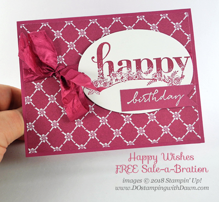 Stampin' Up! Happy Wishes Sale-a-Bration card shared by Dawn Olchefske for DOstamperSTARS Thursday Challenge #DSC267 #dostamping #stampinup #handmade #cardmaking #stamping #diy #rubberstamping #papercrafting #happywishes #saleabration #birthdaycard