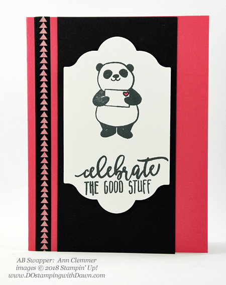 Stampin' Up! Sale-a-Bration Party Pandas  swaps shared by Dawn Olchefske #dostamping  #stampinup #handmade #cardmaking #stamping #diy #rubberstamping #papercrafting #saleabration #birthdaycards #partypandas (Ann Clemmer)