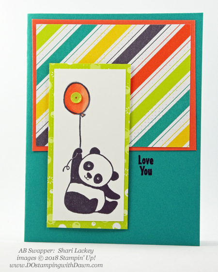 Stampin' Up! Sale-a-Bration Party Pandas  swaps shared by Dawn Olchefske #dostamping  #stampinup #handmade #cardmaking #stamping #diy #rubberstamping #papercrafting #saleabration #birthdaycards #partypandas (Shari Lackey)