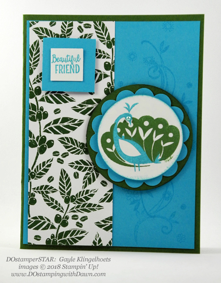 Stampin' Up! Sale-a-Bration Beautiful Peacock swaps shared by Dawn Olchefske #dostamping  #stampinup #handmade #cardmaking #stamping #diy #rubberstamping #papercrafting #Beautiful Peacock #dostamperstars (Gayle Klingelhoets)