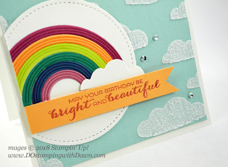 Stampin' Up! Sunshine & Rainbows Bundle card by Dawn Olchefske for DOstamperSTARS Thursday Challenge #DSC269 #dostamping #stampinup #handmade #cardmaking #stamping #diy #rubberstamping #papercrafting #sunshine&rainbowsbundle #bigshot #birthdaycards #rainbowbuilder