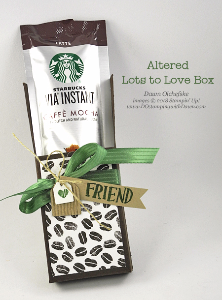 Learn how to alter Stampin' Up!'s Lots to Love Box Framelits into a Coffee Tube Holder shared by Dawn Olchefske #dostamping  #stampinup #handmade #cardmaking #stamping #diy #rubberstamping #papercrafting #coffeetubeholder #lotstolovebox #coffeebreaksuite #coffeecafestampset #coffeecupsfamelits #gifts #bigshot