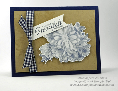 Stampin' Up! Sale-a-Bration Heartfelt Blooms swap card shared by Dawn Olchefske #dostamping  #stampinup #handmade #cardmaking #stamping #diy #rubberstamping #papercrafting #thinkingofyoucards #heartfeltblooms #saleabration (Jill Olson)