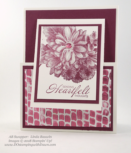 Stampin' Up! Sale-a-Bration Heartfelt Blooms swap card shared by Dawn Olchefske #dostamping  #stampinup #handmade #cardmaking #stamping #diy #rubberstamping #papercrafting #thinkingofyoucards #heartfeltblooms #saleabration (Linda Bauwin)