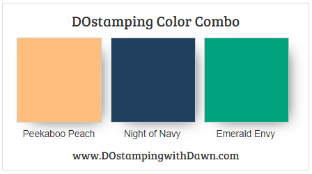 Stampin' Up! color comber Peekaboo Peach, Night of Navy, Emerald Envy by Dawn Olchefske #dostamping #stampinup #colorcombo