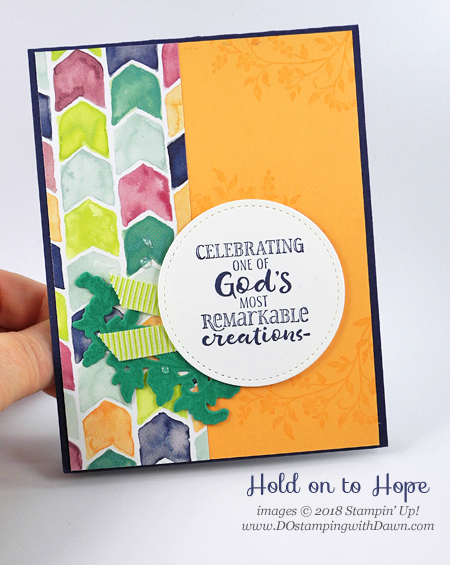 Stampin' Up! Hold on to Hope Bundle birthday card shared by Dawn Olchefske #dostamping #stampinup #handmade #cardmaking #stamping #diy #rubberstamping #papercrafting #birthdaycard #holdontohopebundle #crossesofhopeframelits #naturallyeclecticDSP
