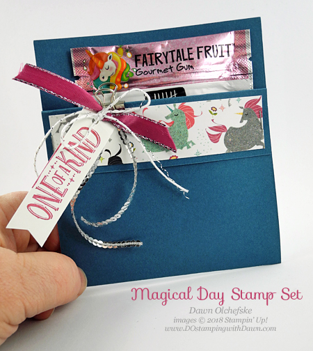 Stampin' Up! Magical Day Unicorn Gum Holder shared by Dawn Olchefske #dostamping  #stampinup #handmade #cardmaking #stamping #diy #rubberstamping #papercrafting #magicaldaystampset #myths&magic  #unicorngiftpackaging #packagingideas