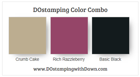Stampin' Up! color combo Crumb Cake, Rich Razzleberry, Basic Black by Dawn Olchefske #dostamping #stampinup #colorcombo