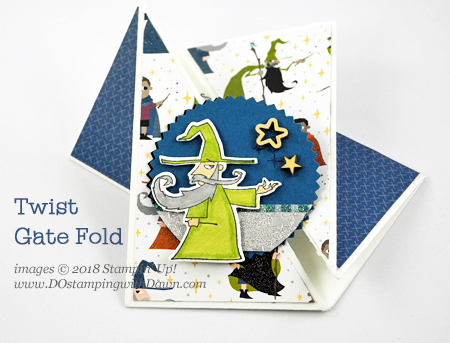 Stampin' Up! Magical Day Bundle Twist Gate Fold card shared by Dawn Olchefske #dostamping #stampinup #handmade #cardmaking #stamping #diy #rubberstamping #papercrafting #magicaldaystampset #myths&magic #funfold #birthdaycards